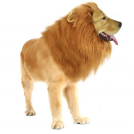 Lion Mane Wig With Ears for Dog Costume Pet Adjustable Washable Comfortable Fancy Lion Hair Scarf Clothes for Festival Party Halloween