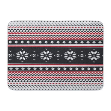 LADDKE Pattern Abstract Strip in Folk Pixel Fair Isle Fairisle Doormat Floor Rug Bath Mat 30x18 inch