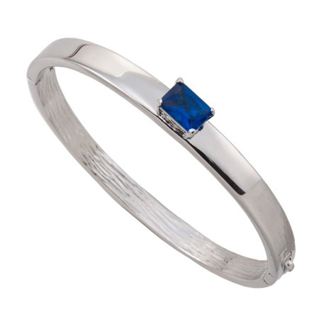 Blue Faux Sapphire Square Jewel Silver Tone Hinged Clamp Bracelet