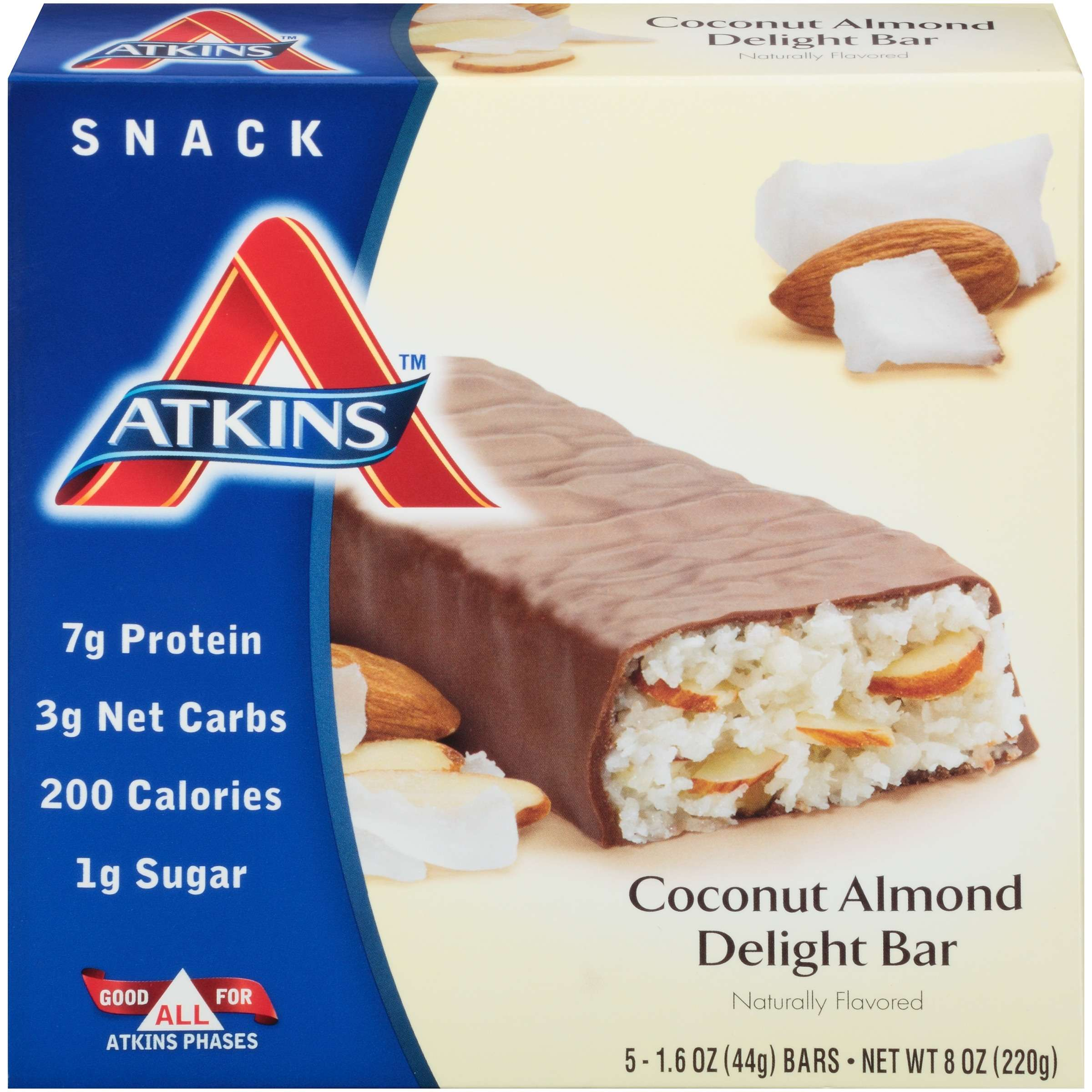 Atkins Coconut Almond Delight Bar, 1.6oz, 5-pack (Snack)