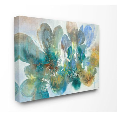 Blue and Green Bright Painterly Florals Canvas Wall Art ()