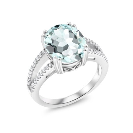 - 4.41 Ct Oval Sky Blue Simulated Aquamarine 925 Sterling Silver Ring