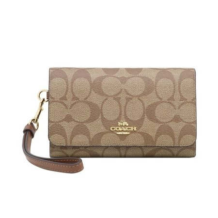 COACH NWT Flap Phone Wallet In Signature Canvas,Khaki/Saddle/Light Gold Soho Signature Flap