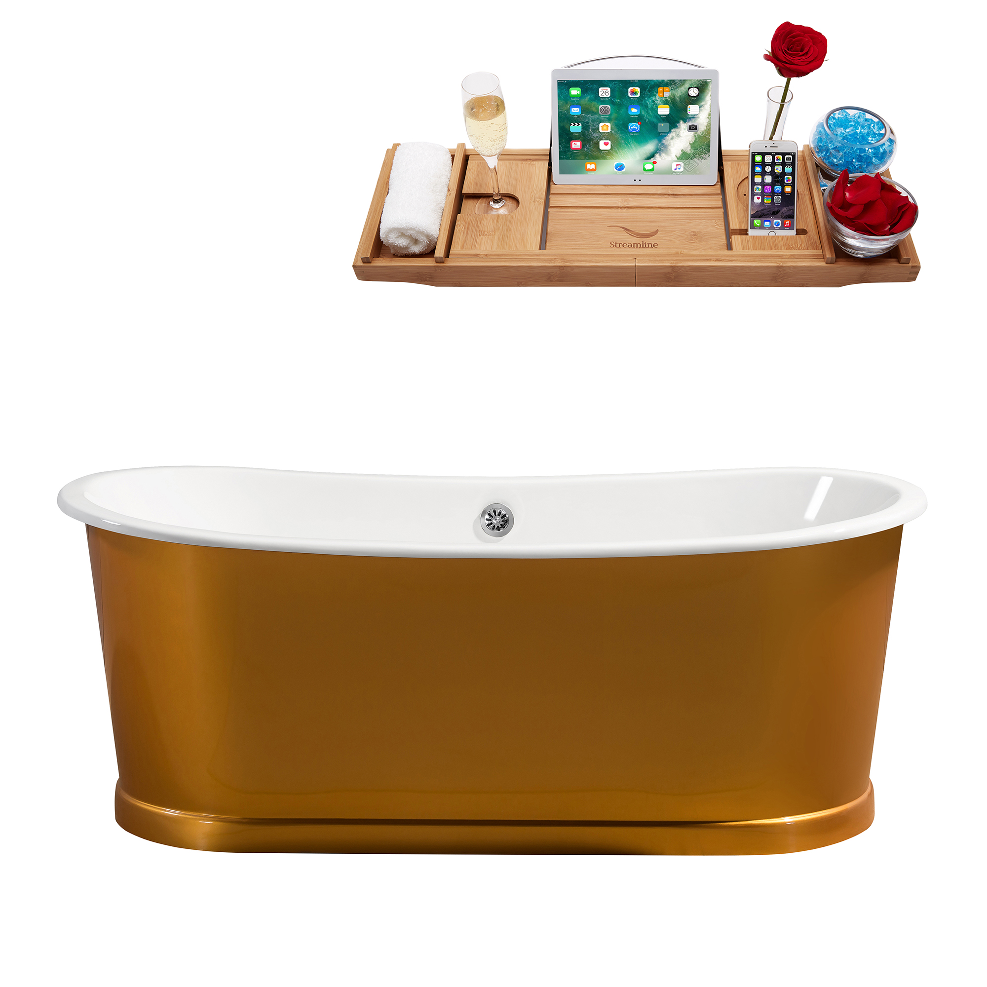 "67"" Cast Iron R5380CH Soaking Freestanding Tub and Tray with External Drain"