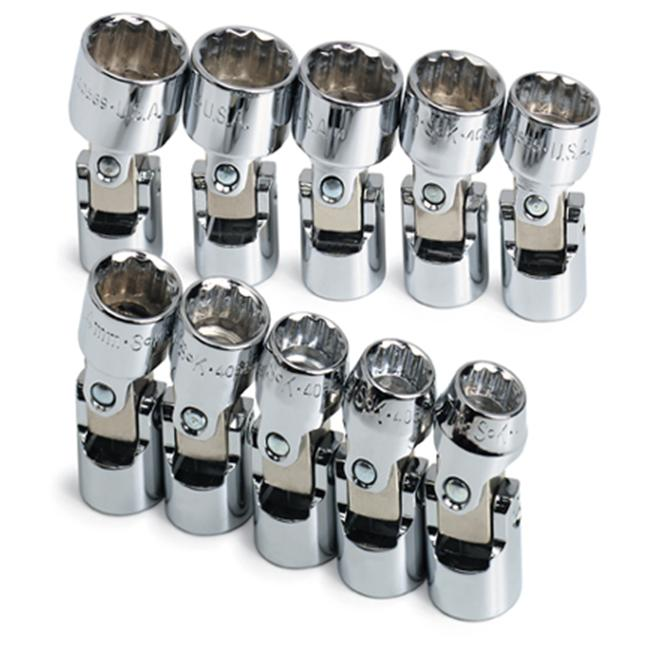 SK Hand Tools 3911-  10 Piece 12 Point Flex Metric Socket Set .375 Inch Drive