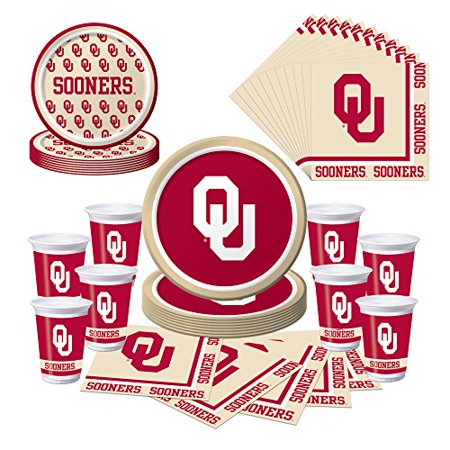 Graduation Plates And Napkins (Oklahoma Sooners Party Pack - Plates, Cups,)