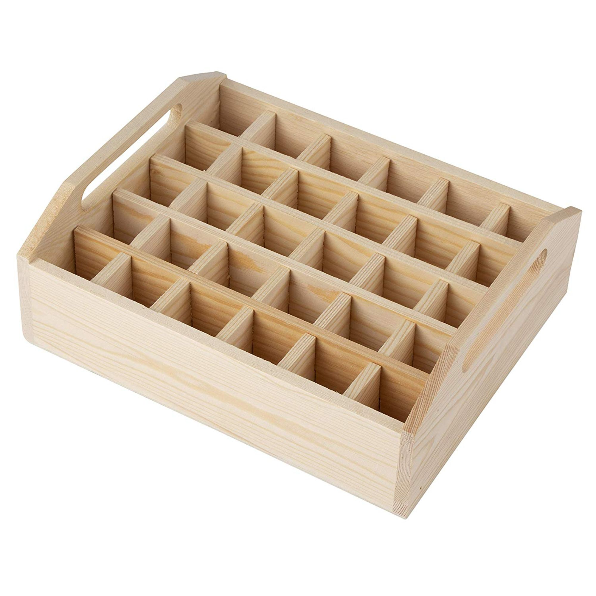 6//9 Compartment Organizer Storage Wooden Tray Unpaited Storage Box Containers