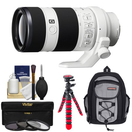 Sony Alpha E-Mount FE 70-200mm f/4.0 G OSS Zoom Lens with Backpack + 3 Filters + Flex Tripod + Kit for A7, A7R, A7S Mark II