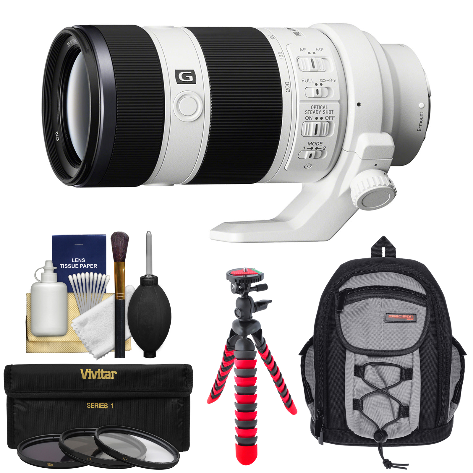 Sony Alpha E-Mount FE 70-200mm f/4.0 G OSS Zoom Lens with Backpack + 3 Filters + Flex Tripod + Kit for A7, A7R, A7S Mark II Cameras