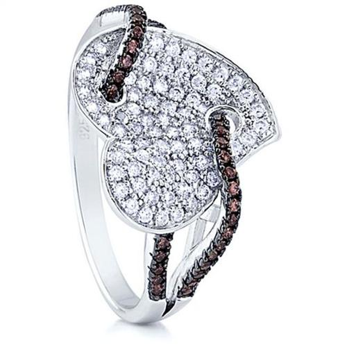 Doma Jewellery SSRZ6535 Sterling Silver Heart Ring With Micro Set CZ, Size 5
