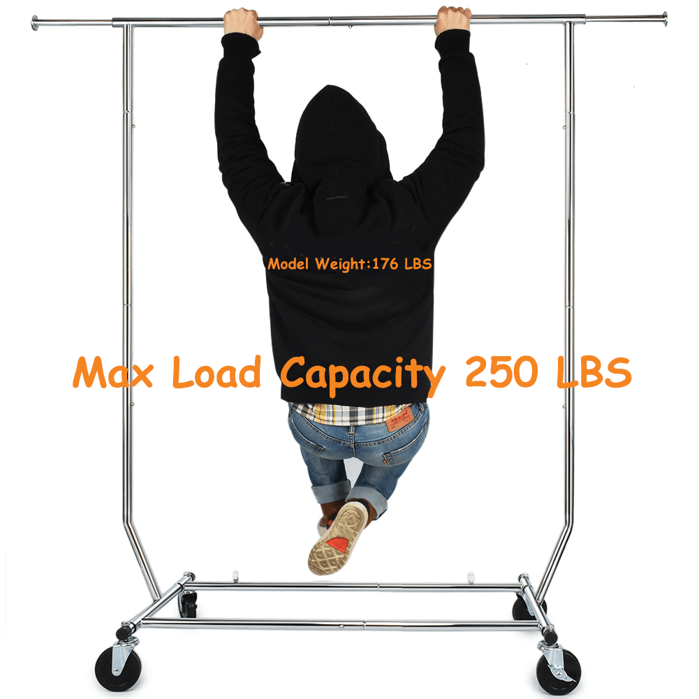 Clothing Rack Heavy Duty Adjustable Garment Rack with Wheels Portable Metal Rolling Coat Rack Commercial Grade Clothing Storage Organizer Rack for Home Decor Shipped from USA!!! Silver