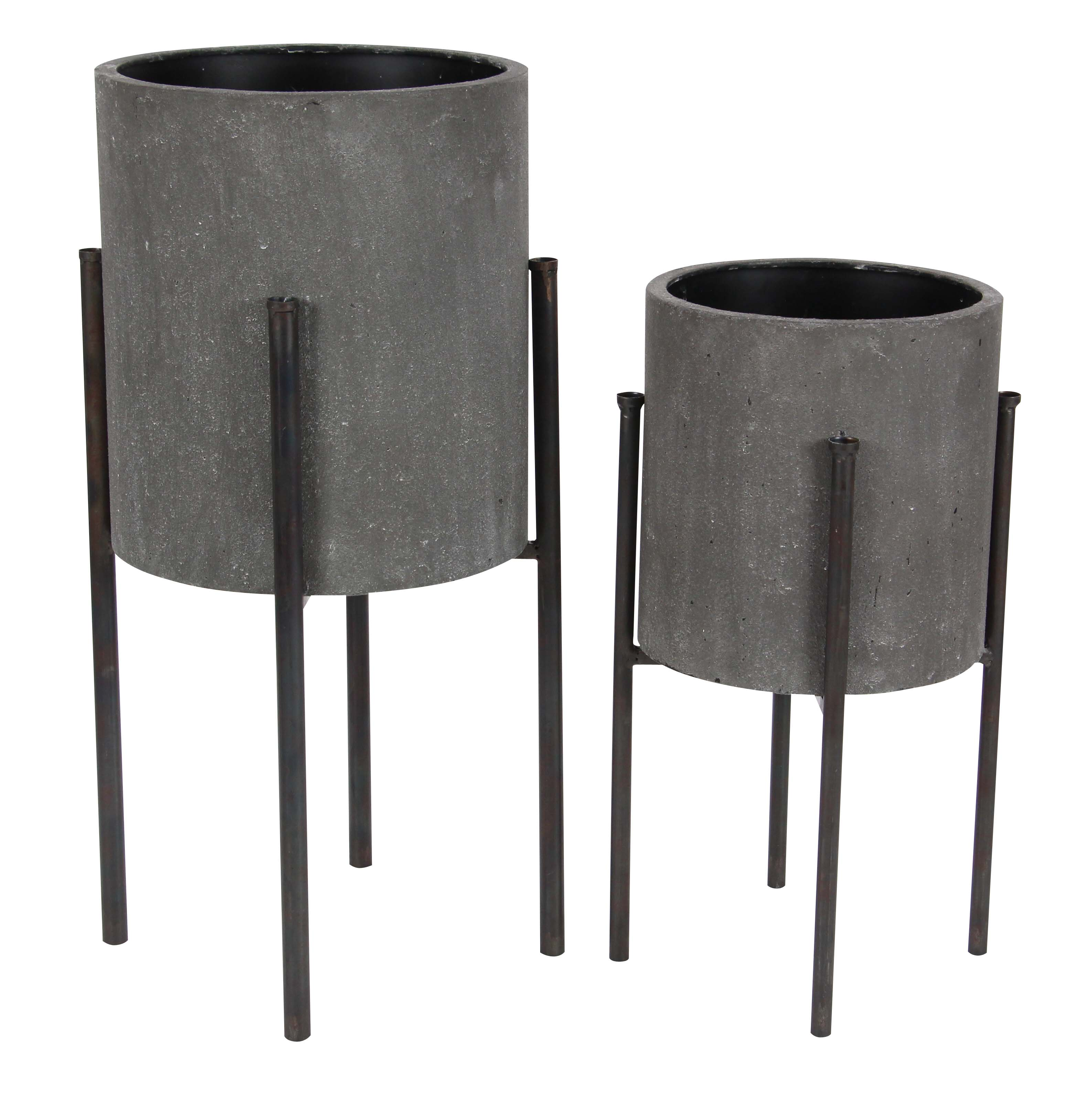 Decmode Set of Two - 19 and 23 Inch Industrial Iron Cylindrical Planters With Stand, Dark Gray