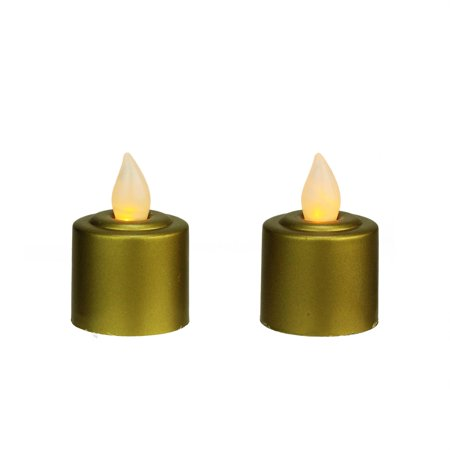 Gold Christmas Candle - Pack of 2 Gold Battery Operated LED Flickering Amber Lighted Christmas Votive Candles 2.25