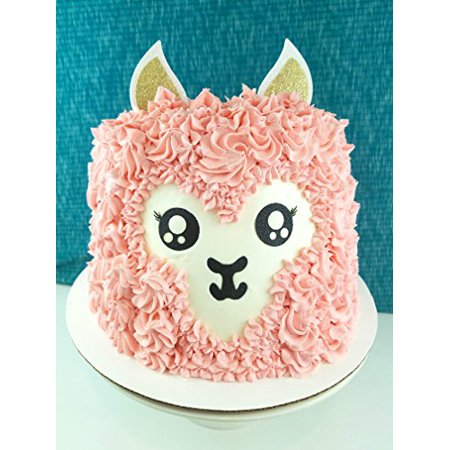Handmade Llama Birthday Cake Topper Decoration - Alpaca - Made in USA with Double Sided Glitter Stock (Cake not - Llama Birthday