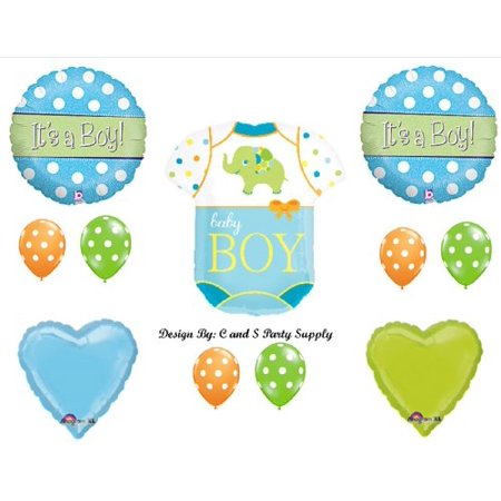Baby Boy Onesie with Elephant Shower Balloons Decorations - Adult Elephant Onsie