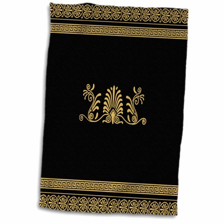 3dRose Golden Yellow and Black Ancient Greek Decorative Spirals and Palm Leaves - Classic Grecian Key - Towel, 15 by 22-inch