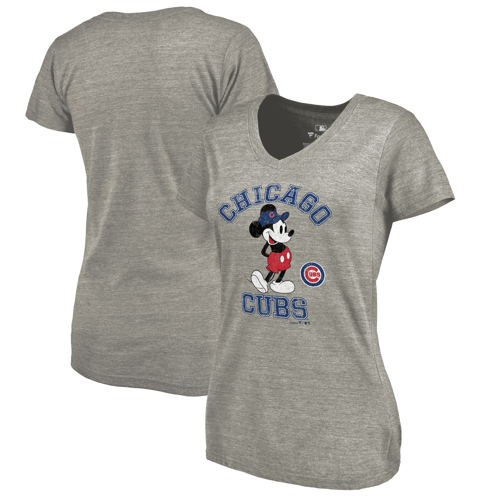 Chicago Cubs Fanatics Branded Women's Disney MLB Tradition Tri-Blend V-Neck T-Shirt - Heathered Gray