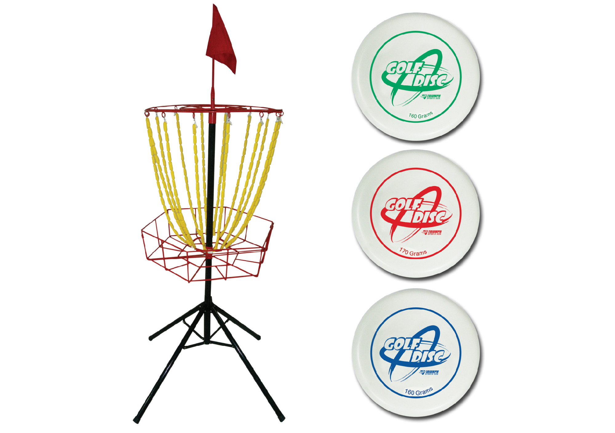 Triumph Disc Golf Toss Steel Portable Target and Three Weighted Golf Discs (160g, 170g, 180g) by Triumph