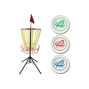 Triumph Disc Golf Toss Steel Portable Target and Three Weighted Golf Discs (160g, 170g, 180g)