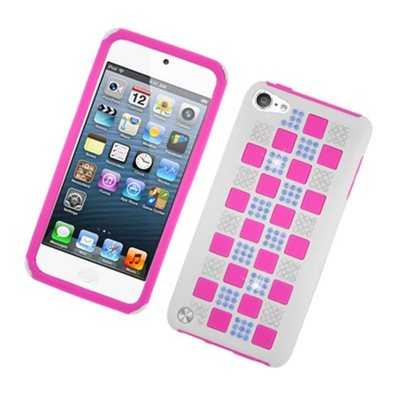 Insten Checker Dual Layer Hybrid Rubber Silicone/Plastic Case Cover With  Diamond For Apple iPod Touch 6th / 5th Gen, White/Hot Pink