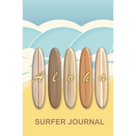 Hawaiian Aloha Vintage Surfboards Surfer Journal : Trendy wooden retro longboards on a tropical beach surf notebook to log all your epic ocean sessions and waves. Pages to store contacts and surf wish lists for equipment essentials such as wax and fins ()