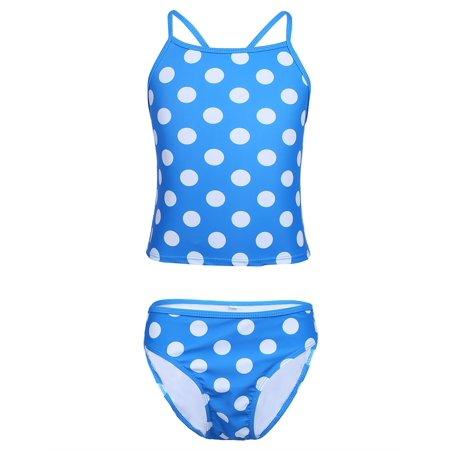 iEFiEL Big Girls Polka Dots Spaghetti Tankini Swimsuit Set