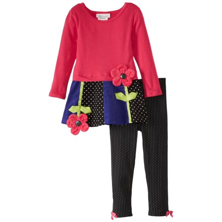 Skirted Legging Set (Little Girls: Newborn Fuchsia Corduroy Legging Set with Pieced Skirt  3-6 months)