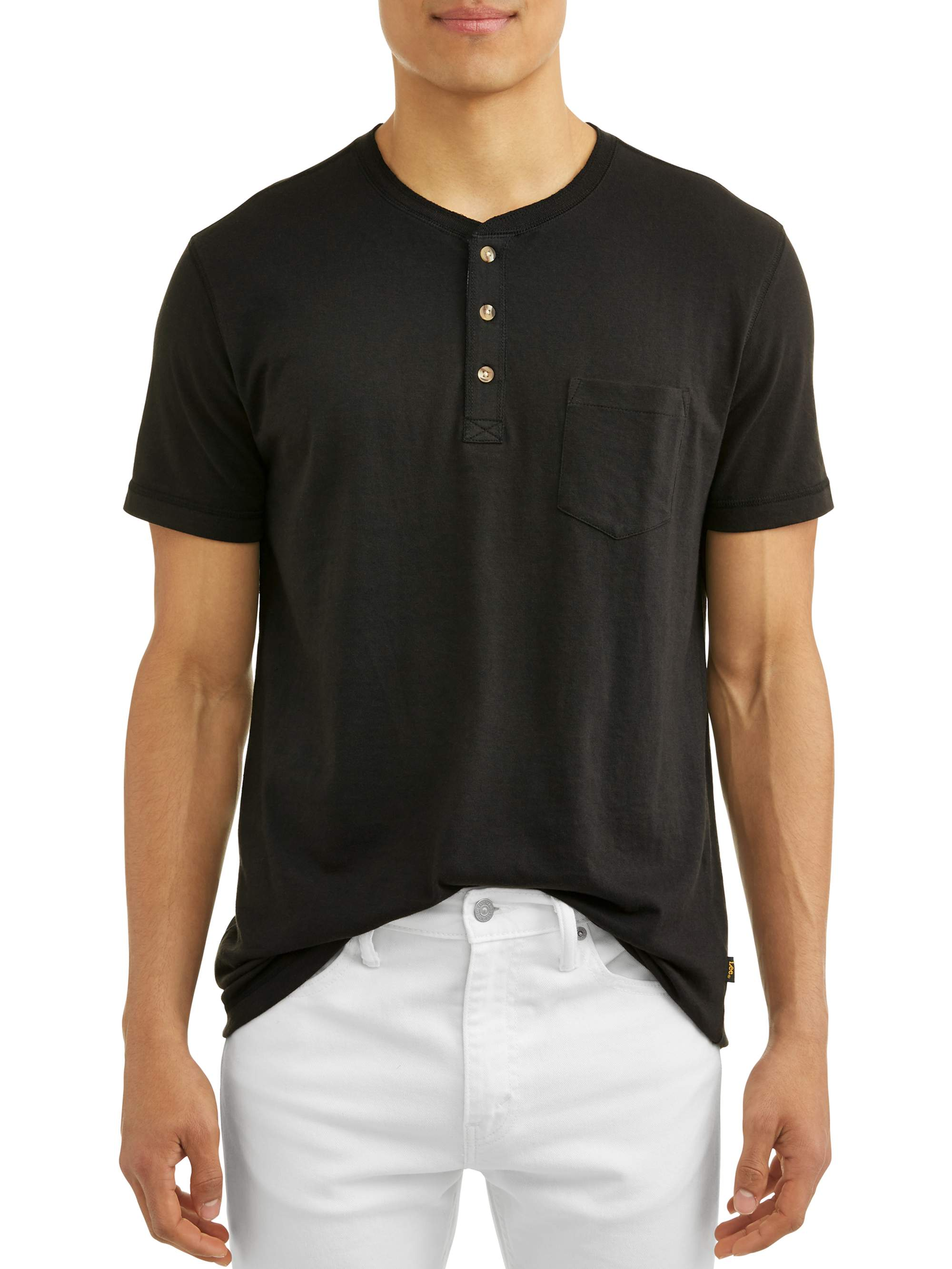 Lee Men's Short Sleeve Solid Henley, Available Up to Size 2XL
