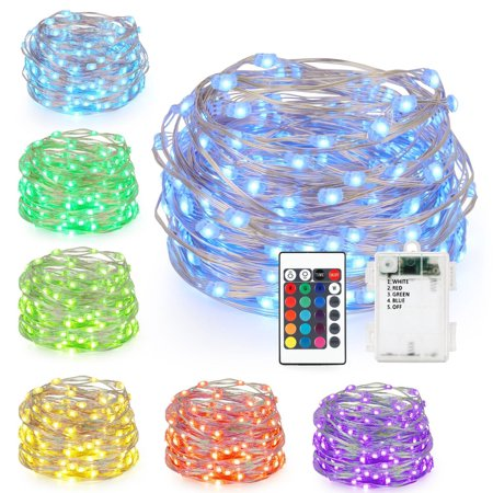 16ft 50LED Copper Battery Power Multi Color Changing String Lights with Remote,