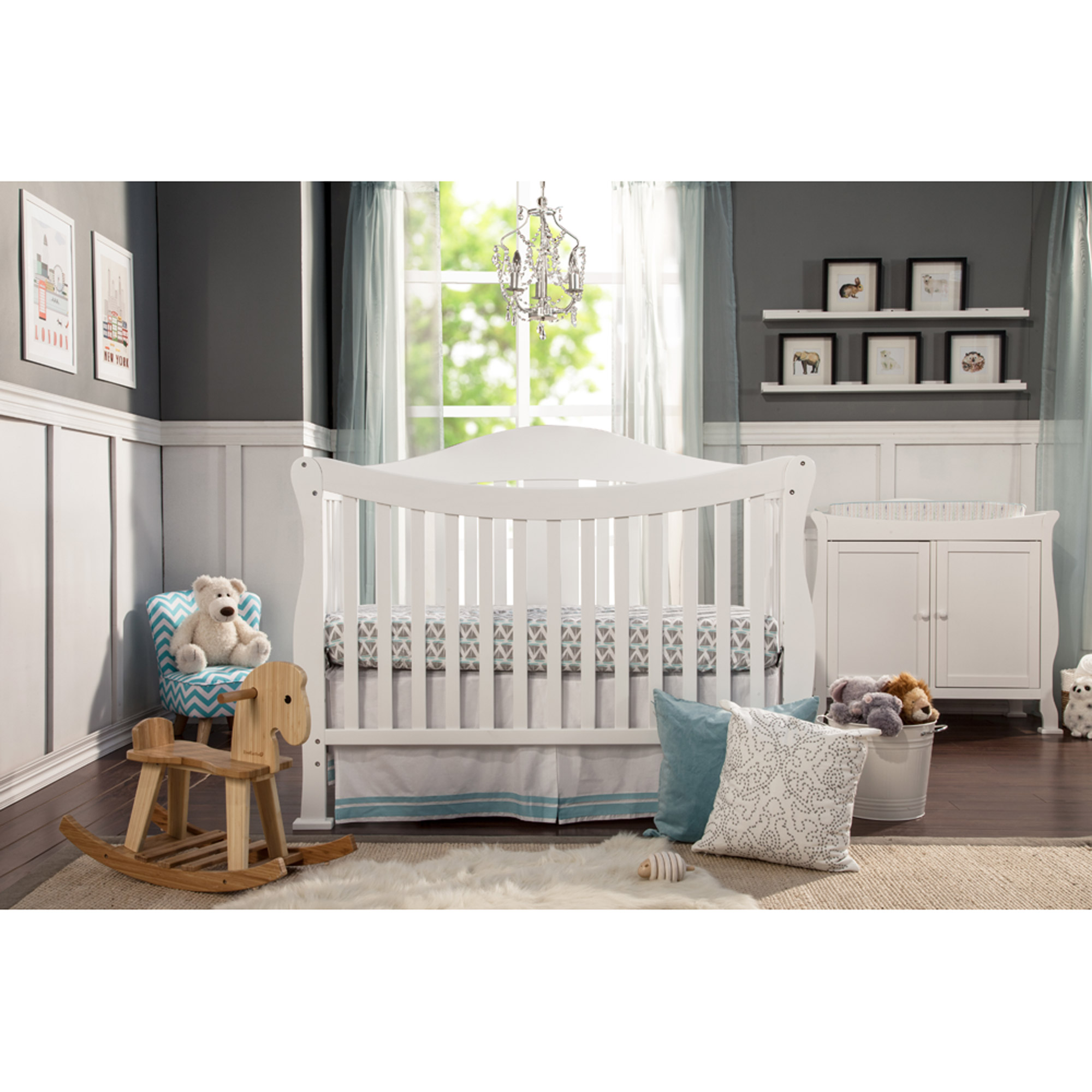 DaVinci Parker 4-in-1 Fixed-Side Convertible Crib with Toddler Rail, White