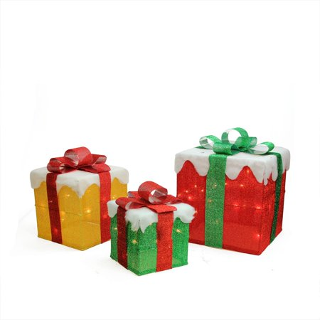 Set Of 3 Lighted Red Green And Gold Gift Box Present