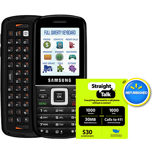 Straight Talk Samsung T401G GSM Phone with $30 Card, Refurbished