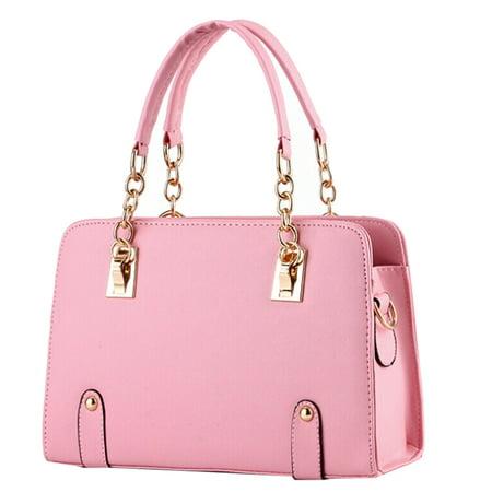 Handbag  Coofit Leather Chain Top Handle Bag Handbag Cross Body Bag Multicolor For Women Girls Ladies Peach