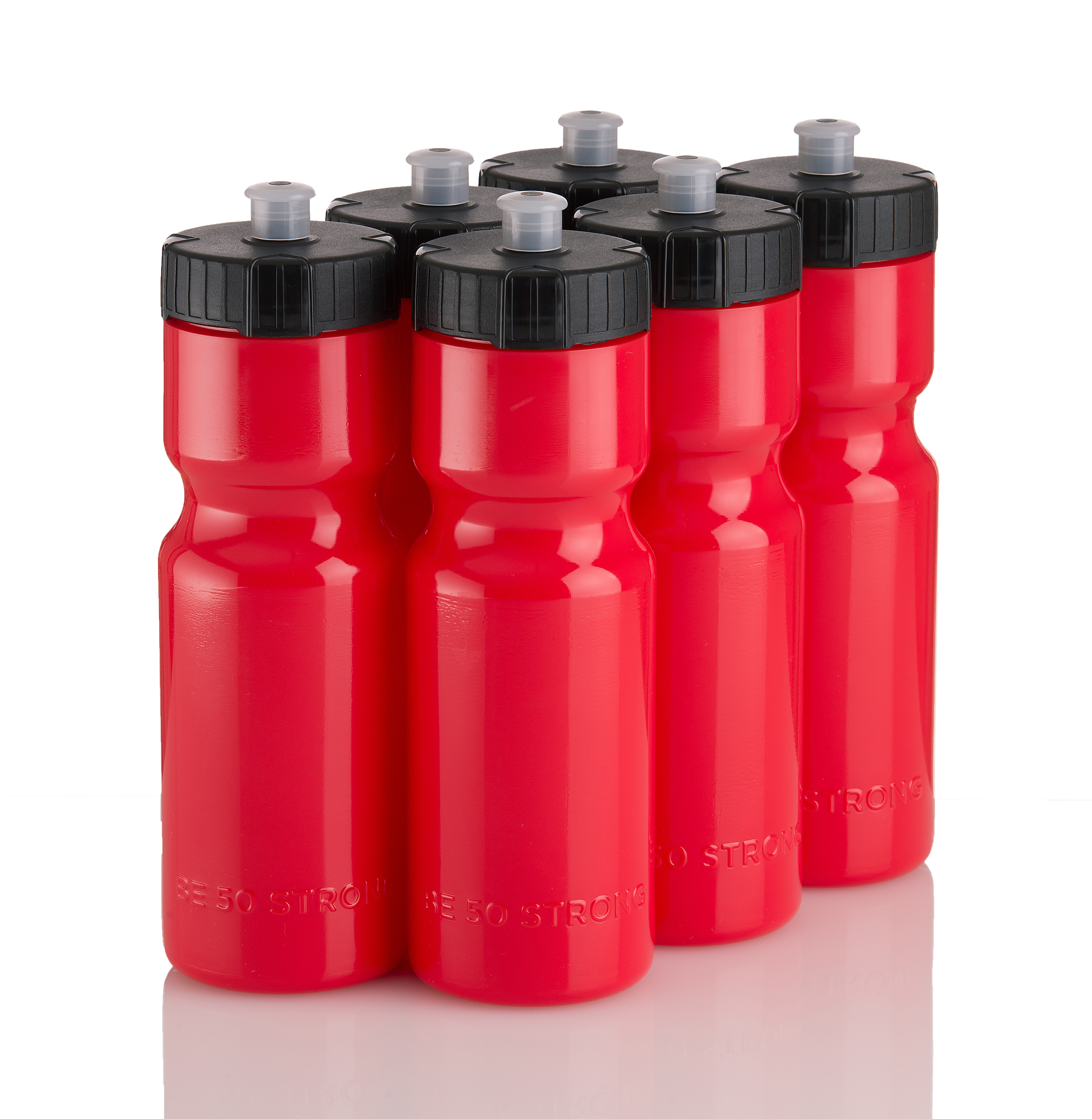 50 Strong Sports Squeeze Water Bottle Team Pack - Includes 6 Bottles - 22 oz. BPA Free