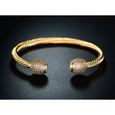 18K Gold Plated & Cubic Zirconia Open Cuff Bracelet Cuff Gold Plated Bracelet