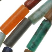 Gemstone Bead Mix 4 x 13mm Tube Beads /16 Inch Strand