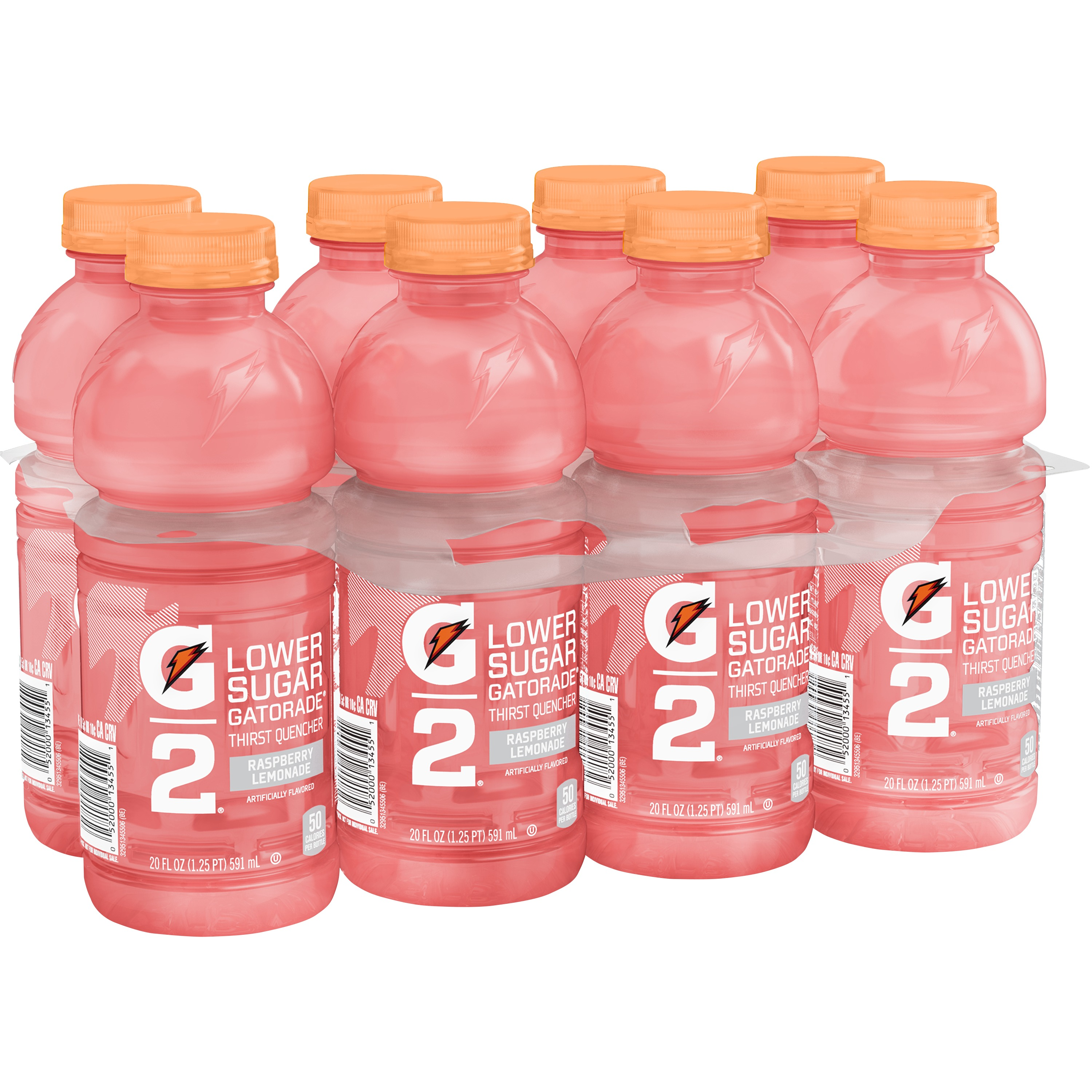 G2 Lower Sugar Gatorade Thirst Quencher Sports Drink, Raspberry Lemonade, 20 Fl Oz, 8 Count