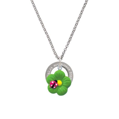 Resin Lime Green Daisy Flower with Hot Pink Ladybug Snowflakes are Kisses Affirmation Ring Necklace