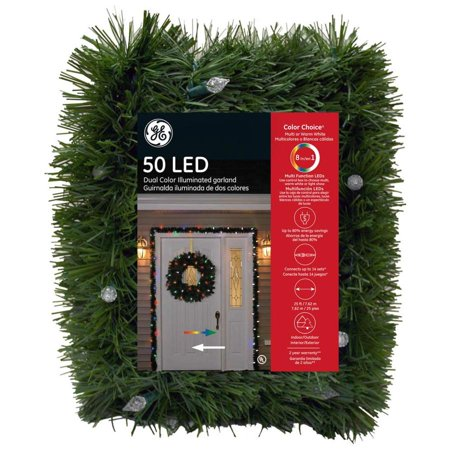 GE Indoor/Outdoor Pre-lit 25-ft Pine Garland with Color Changing LED Lights 84520LO ()