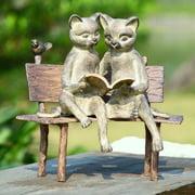 San Pacific International Reading Cats on Bench Garden Statue