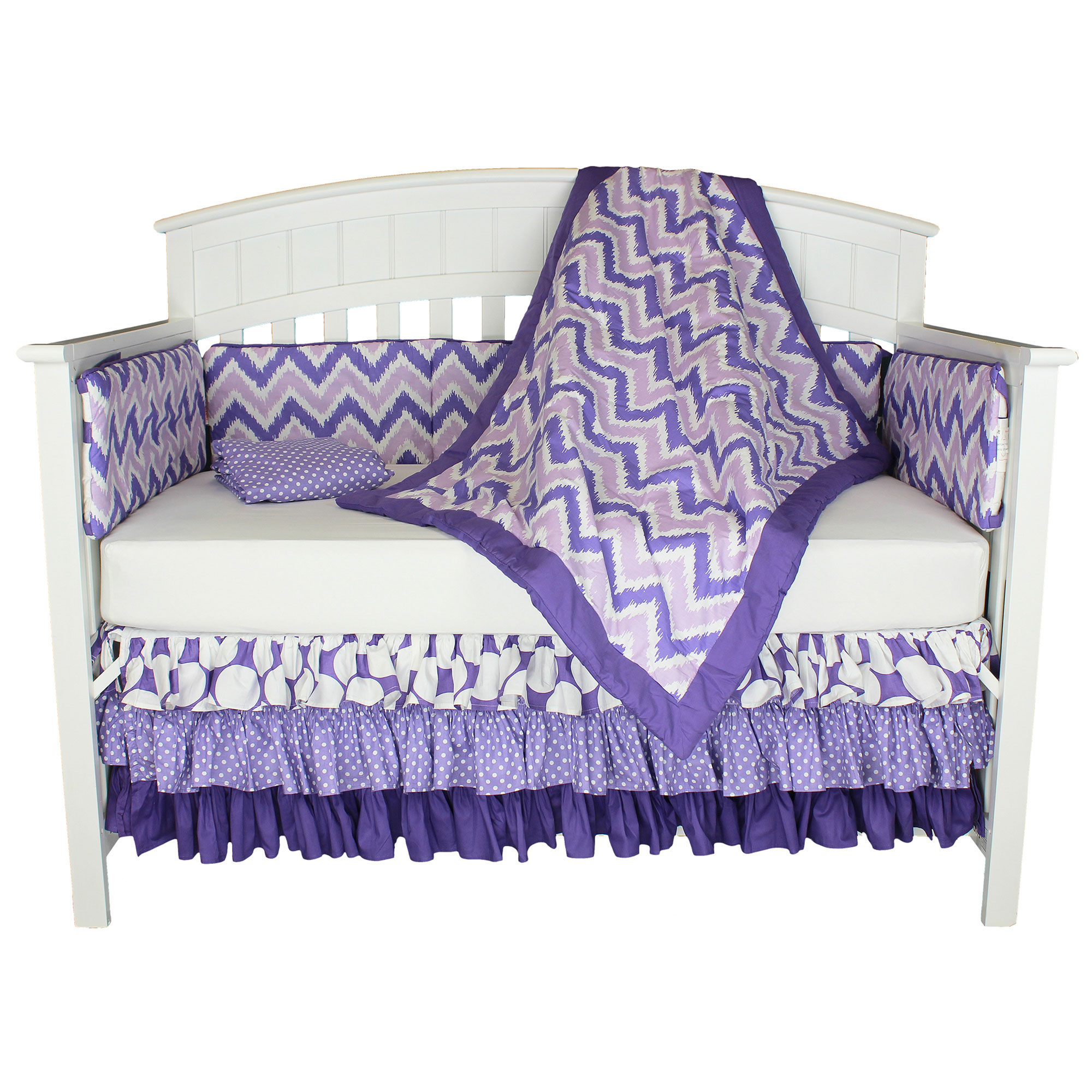 Bacati Crib Bedding Set - Purple and Lavender Polka Dots and Zig Zag - 100% Cotton 5 Piece Baby Girl Bedding Collection with Bumper