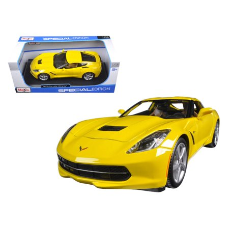 Corvette Cap (2014 Chevrolet Corvette C7 Stingray Yellow 1/18 Diecast Model Car by Maisto )