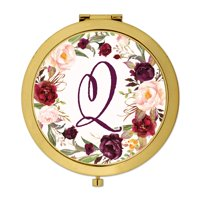 Andaz Press Gold Compact Mirror Bridesmaid's Wedding Gift, Marsala Burgundy Maroon Flowers , Monogram Letter Q, 1-Pk