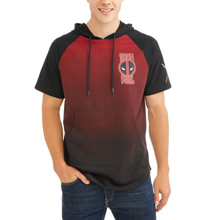 Deadpool Men's Short Sleeve Hooded Raglan Tee - Hooded Superheroes