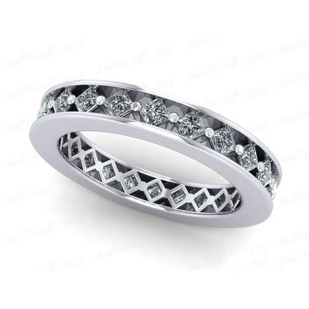 Moissanite Platinum Eternity Ring Band - Natural 1.50Ct Princess Cut Diamond Angled Women's Anniversary Wedding Eternity Band Ring Solid 950 Platinum G SI1