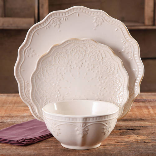 The Pioneer Woman Farmhouse Lace Dinnerware Set, 12-Piece