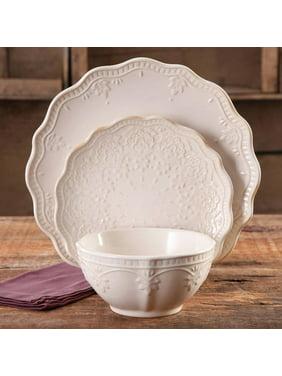 The Pioneer Woman Farmhouse Lace 12-Piece Dinnerware Set, Linen