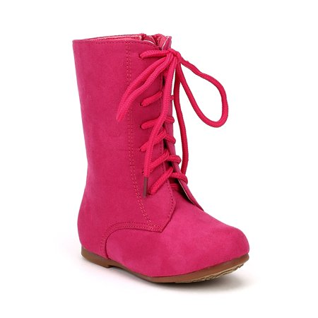 Jelly Beans Echoma New Suede Round Toe Lace Combat Riding Boot (Toddler/ Girl)