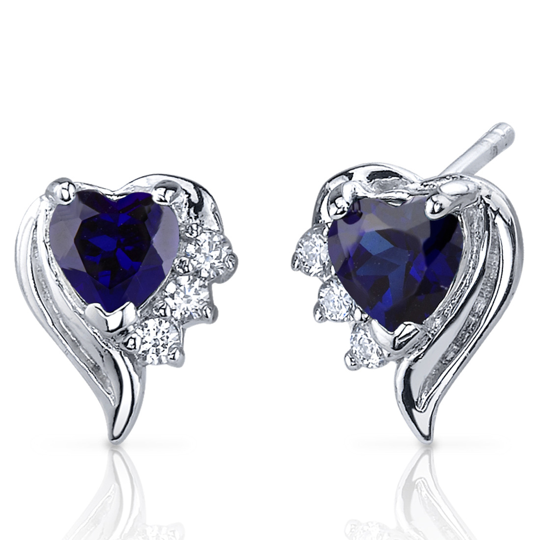 1.50 Ct Heart Shape Created Blue Sapphire CZ Accent Sterling Silver Stud Earrings Rhodium Finish