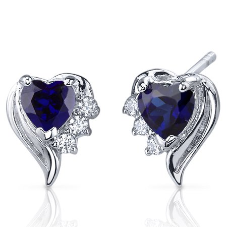 1.50 Ct Heart Shape Created Blue Sapphire CZ Accent Sterling Silver Stud Earrings Rhodium Finish Blue Sapphire Crystal Earrings